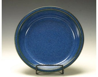 Pottery Pie Plate.  Stoneware pie plate.  Cobalt blue pie plate.  Ready to ship.