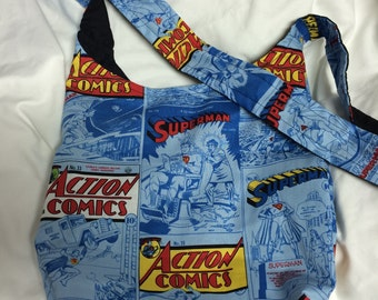 Superman Spot Colot Action Comics Covers Hobo REVERSIBLE CrossBody Bag / purse