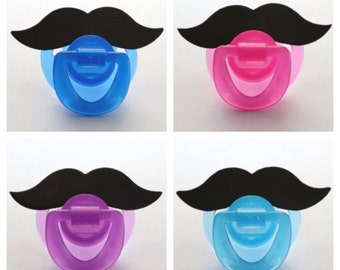 MUSTACHE PACIFIER (pick a color: light blue, deep blue, pink, or purple) (stache paci) Ready to ship! RTS