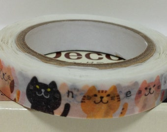Japanese Washi Tape Masking Tape Deco Tape Paper Tape Cat Slim type (TM00184)