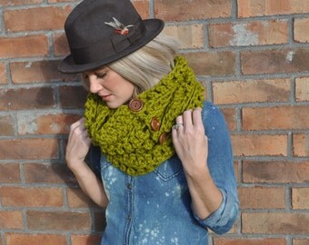 Crochet Infinity Scarf Chunky Chartreuse Green Cowl