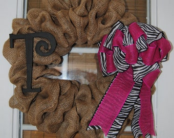 Personalized Burlap Initial Wreath with Chevron Bow Customize anyway you want Monogrammed
