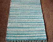 Custom Order Rag Rug in Bright Aqua and White with Hand Tied Aqua and Silver Fringe, Handwoven Rag Rug