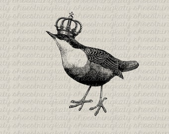 Bird French Crown Printable Image Instant Download Collage Sheet Fabric Transfer Clip Art Digital Stamp Tags Pillows Totes Towels Burlap