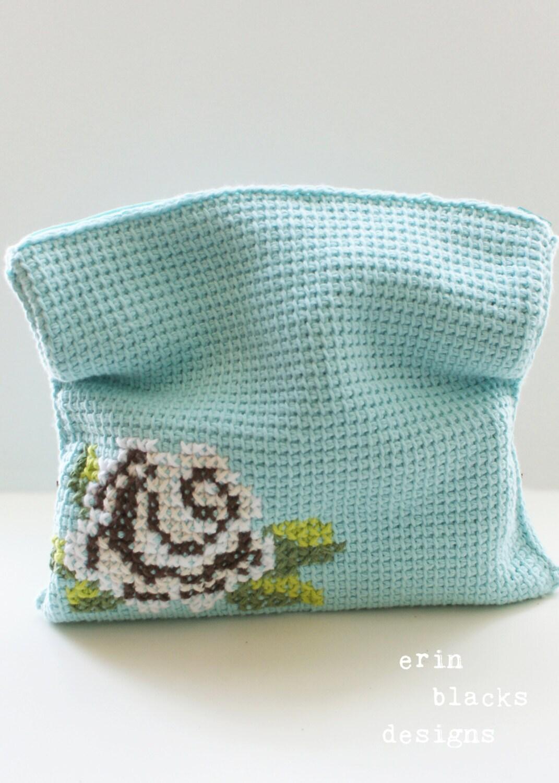 DIY Tunisian Crochet PATTERN Cotton Brown Rose Bloom Clutch