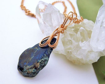 Sea Sediment Blue Jasper Semi Precious Stone Pendant, Copper Wire Wrapped, Delicate Swirls, Handmade Jewelry, Art Nouveau Styling, Dark Blue