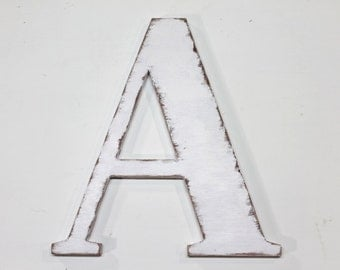 """Wood letter """"A"""", 12 inches tall, shabby chic, wooden letters, handmade, alphabet letters, distressed, letters, painted Vintage White"""