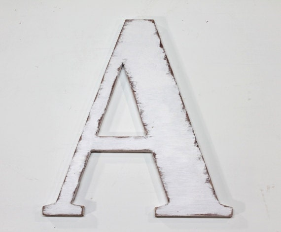 "Wood letter ""A"", 12 inches tall, shabby chic, wooden letters, handmade, alphabet letters, distressed, letters, painted Vintage White"