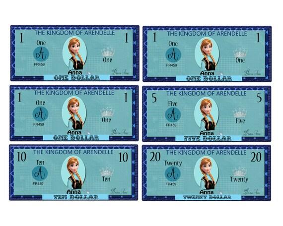 Printable Frozen Anna Play Money Pack - Instant Download JPEG Reward ...