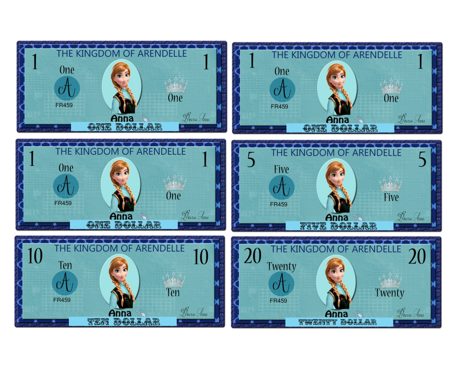 printable frozen anna play money pack instant download jpeg