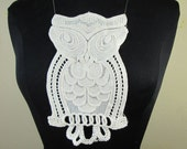 Natural color cotton embroidery owl applique lace patch