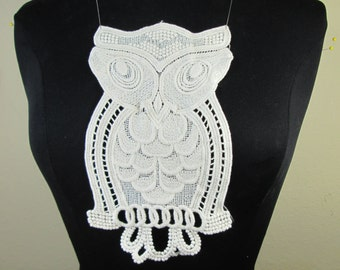 Natural color cotton embroidery owl applique lace patch
