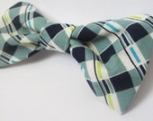 Blue and white plaid boys bow tie / neck tie great as a gift for boy of all ages