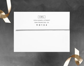 Return address stamp - Great for wedding invitations - Personalized Gift - Mid-Century Modern