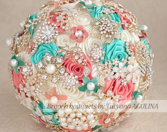 Brooch bouquet. Coral, Ivory and Mint wedding brooch bouquet