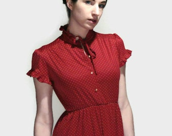 70's Polka Dot Peasant Dress