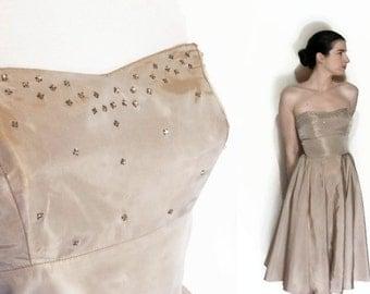 50's Rhinestone Dress & Jacket Champagne Taffeta Lace