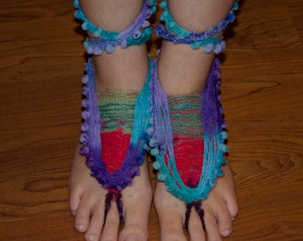 Gypsy Hippie Barefoot Sandals- Belly Dance Foot Jewelry