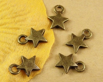 40pcs 9x13mm Antique Bronze Lovely Five Pointed Stars Charm Pendant Jewelry Findings Drops A1581