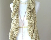 BEIGE Romantic VEST CROCHET Vest Poncho Sweater Scarf Tops Fashion Cream Vest Chic Spring Fall Winter Handmade
