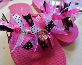 PRETTY in PINK or PURPLE----Girls Flip Flops