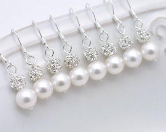 7 Pairs Bridesmaid Earrings, Pearl and Rhinestone Earrings, Bridesmaid Pearl Earrings, Pearl and Crystal Earrings, Bridesmaid Gifts 0061