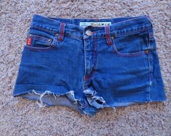 Mudd Dark Denim Cut Off Shorts, size 0/1