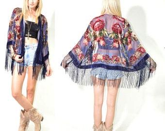 Sheer Silk Burnout Velvet Fringe Kimono Hippie Boho Gypsy Festival Jacket