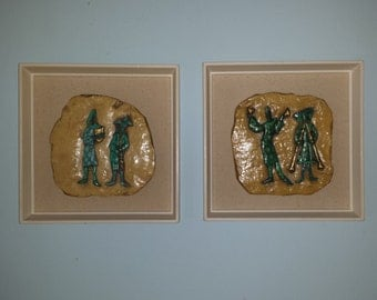 Super cool set of 2 HARLEQUIN SHADOW Box PICTURES three dimensional mid century modern mad men 1960s