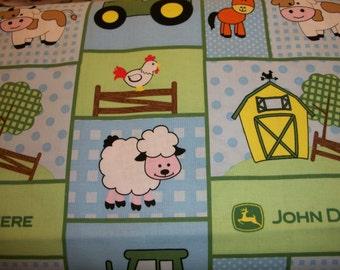John Deere on light blue  cotton  Crib/toddler fitted  sheet