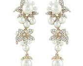 White/Ivory Pearl Bridal Earrings, Vintage Inspired Austrian Crystal Bride Earrings, Gold Tone Earrings, Bridesmaid Jewelry-110747763