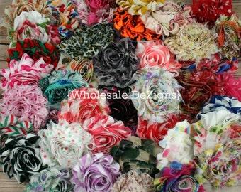 """Grab Bag Shabby Flower Prints - 2.5"""" Sample Bag of Chiffon Flowers"""