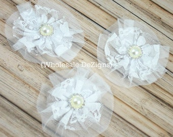 """White Lace and Tulle Flower with 18mm Pearl Rhinestone Center 3.5"""" - 3 Pieces"""