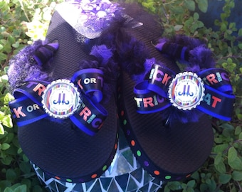 Trick or Treat Smell My Feet Inspired Bottlecap with Tulle Flip Flops and Removable Bows Size Adult Small