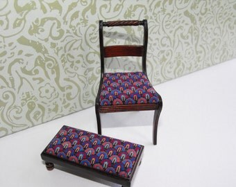 SALE!!! MASSIVELY REDUCED! Matching Regency chair and Long stool, scallop pattern tapestry