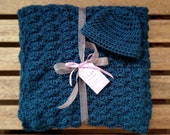 Crochet Baby Blanket with Matching Hat - Ocean Blue