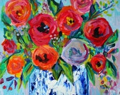 """Red Poppies in Blue and White Vase, GICLEE PRINT """"NORA"""" by Carolyn Shultz"""