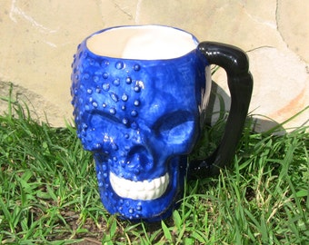 Screaming BLUE Skull coffee MUG, Halloween, Dia de los Muertos, ceramic planter, decor, or great Gift. GOTH