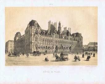 Hotel de Ville - Paris C1860s - France - Original Antique Color Sepia Lithograph