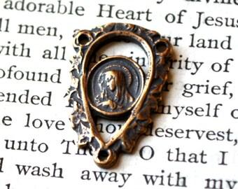 "Madonna Lace Rosary Center - 7/8"" - Filigree - Vintage Replica"