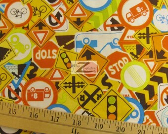 """Road Signs On The Go Riley Blake 100% Cotton Fabric - 45"""" Width Sold By The Yard (FH-390)"""