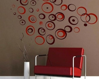 Ring Wall Decals - Retro Wall Vinyl Sticker Decal Circles Rings Dots Kids - f42