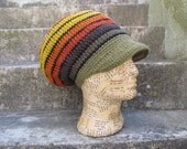 Reserved !!!!! Dread Rasta hat Tam with brim lined Size M