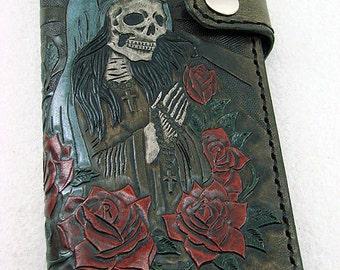 Biker style wallet with engraved santa muerte