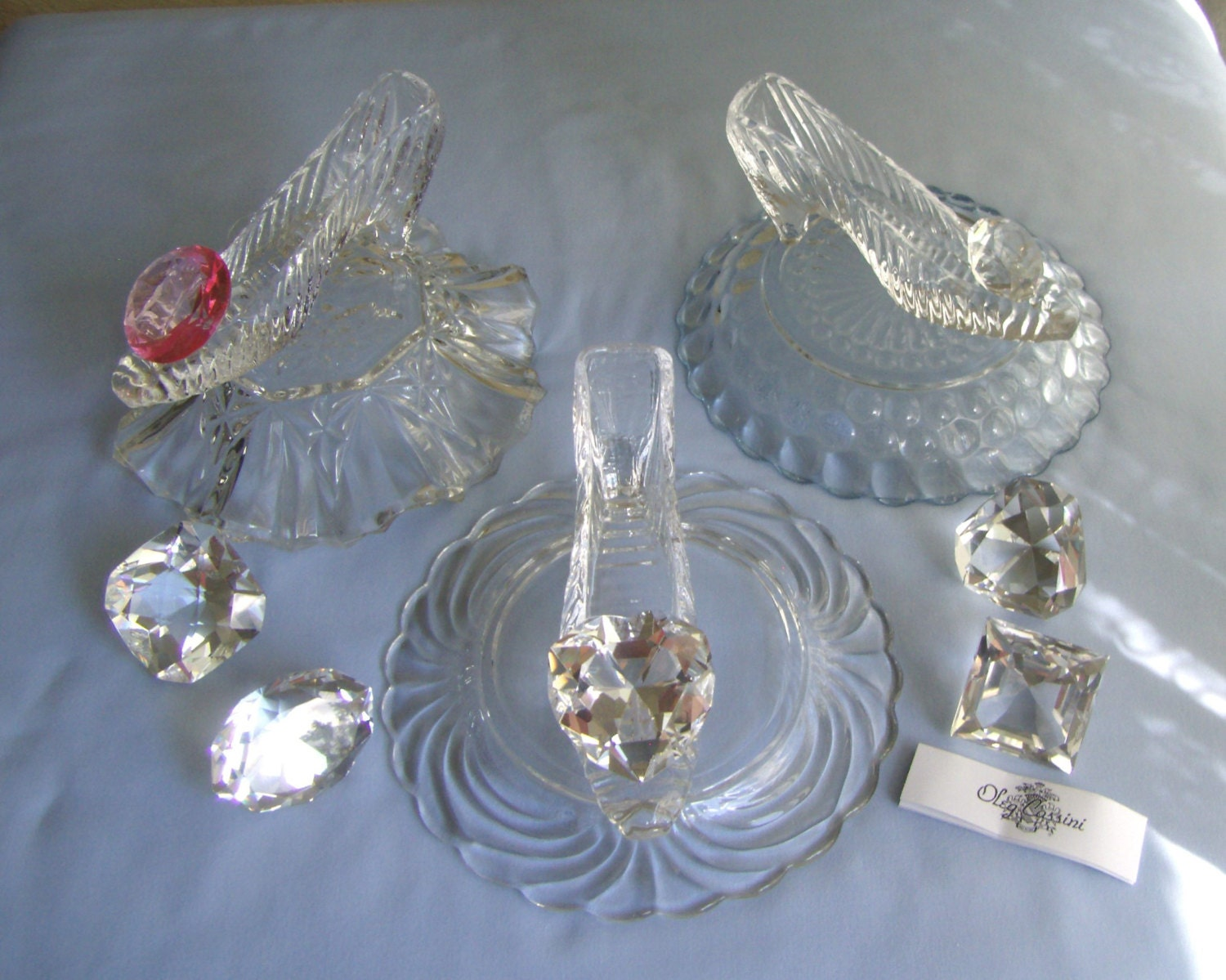 Custom made cinderella glass slipper with vintage pillow