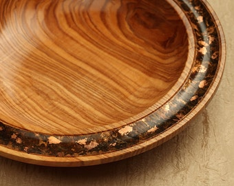 Large Ash Decorator Bowl with Copper Leafing
