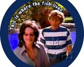 Rifftastic  MST3K inspired pinback buttons / stickers Touch of Satan This is Where the Fish Lives