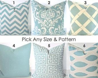 PILLOWS Blue Chevron Decorative Throw Pillows  Spa Blue Chevron Pillow Covers .ALL SIZES. 16x16 18x18 20x20 Home Living