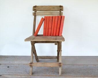 Primitive Vintage Childs Chair | Wood Folding | Rustic | Farmhouse Style | Photographers Prop