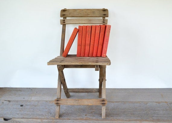 Primitive Vintage Childs Wood Folding Chair by NostalgicArtifacts